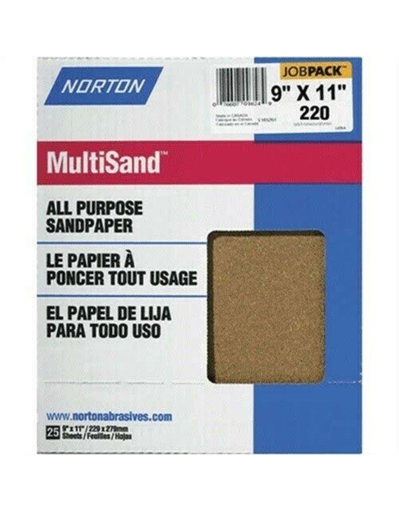 "Norton Multisand Aluminum Oxide 220A 9""x11"" 25pk"