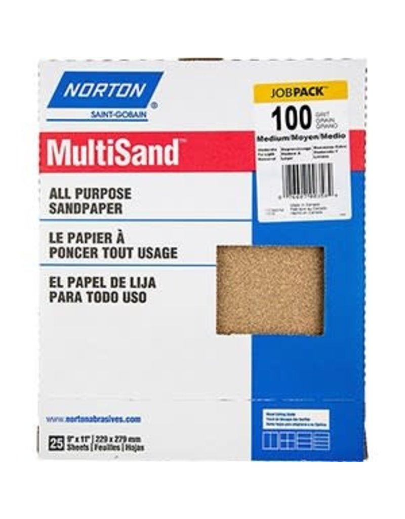 """Norton Multisand Aluminum Oxide 100C 9""""x11"""" 25pk"""