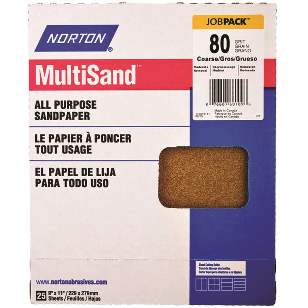 "Norton Multisand Aluminum Oxide 80D 9""x11"" 25pk"