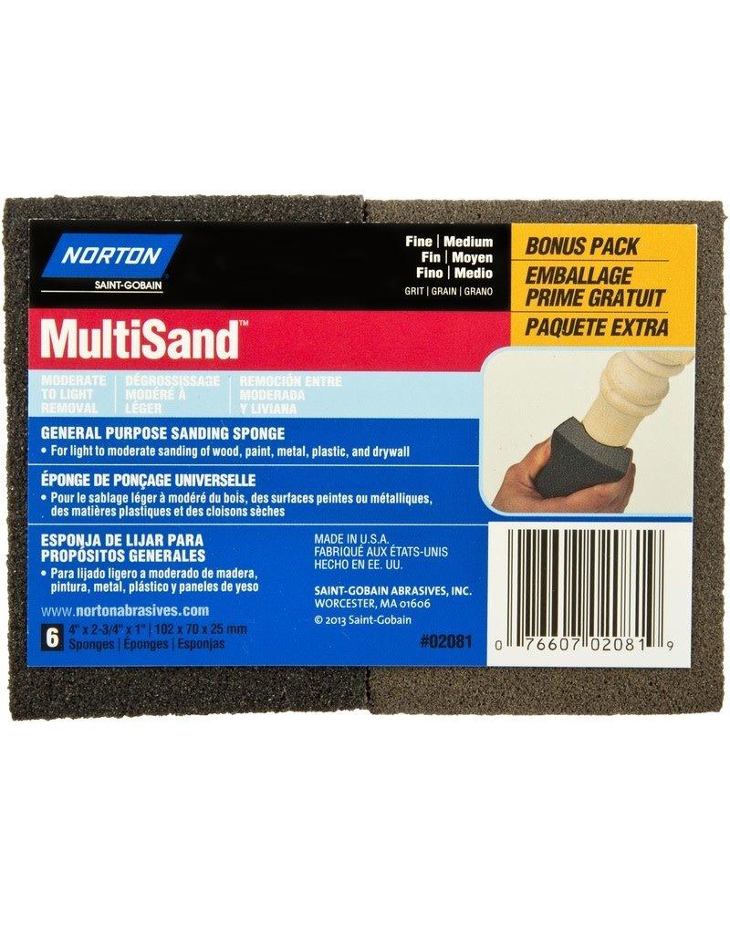 Norton Multisand Sanding Sponge Fine/Medium 6pk