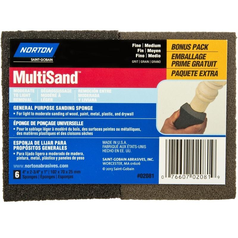 Multisand Sanding Sponge Fine/Medium 6pk