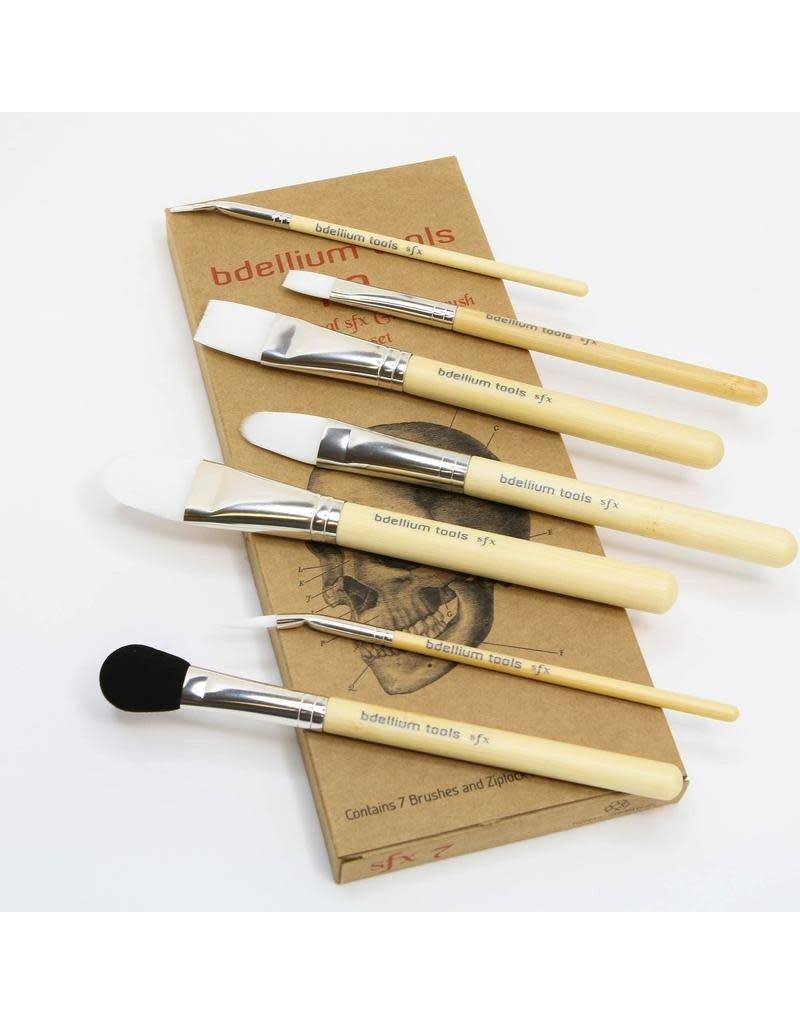 Bdellium Tools SFX Glue Brush Set 7 pc. with Ziplock Pouch