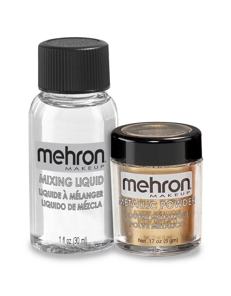 Mehron Metallic Powder with Mixing Liquid Gold