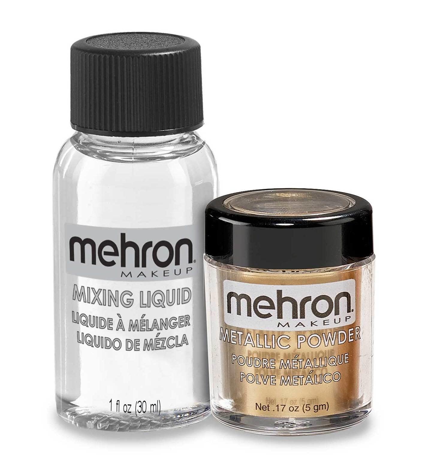 Mehron Metallic Powder with Mixing Liquid Gold