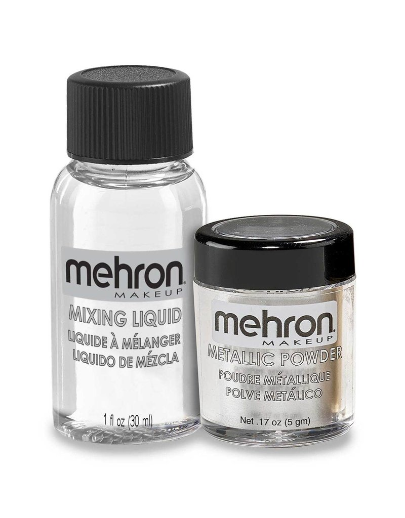 Mehron Metallic Powder with Mixing Liquid Silver