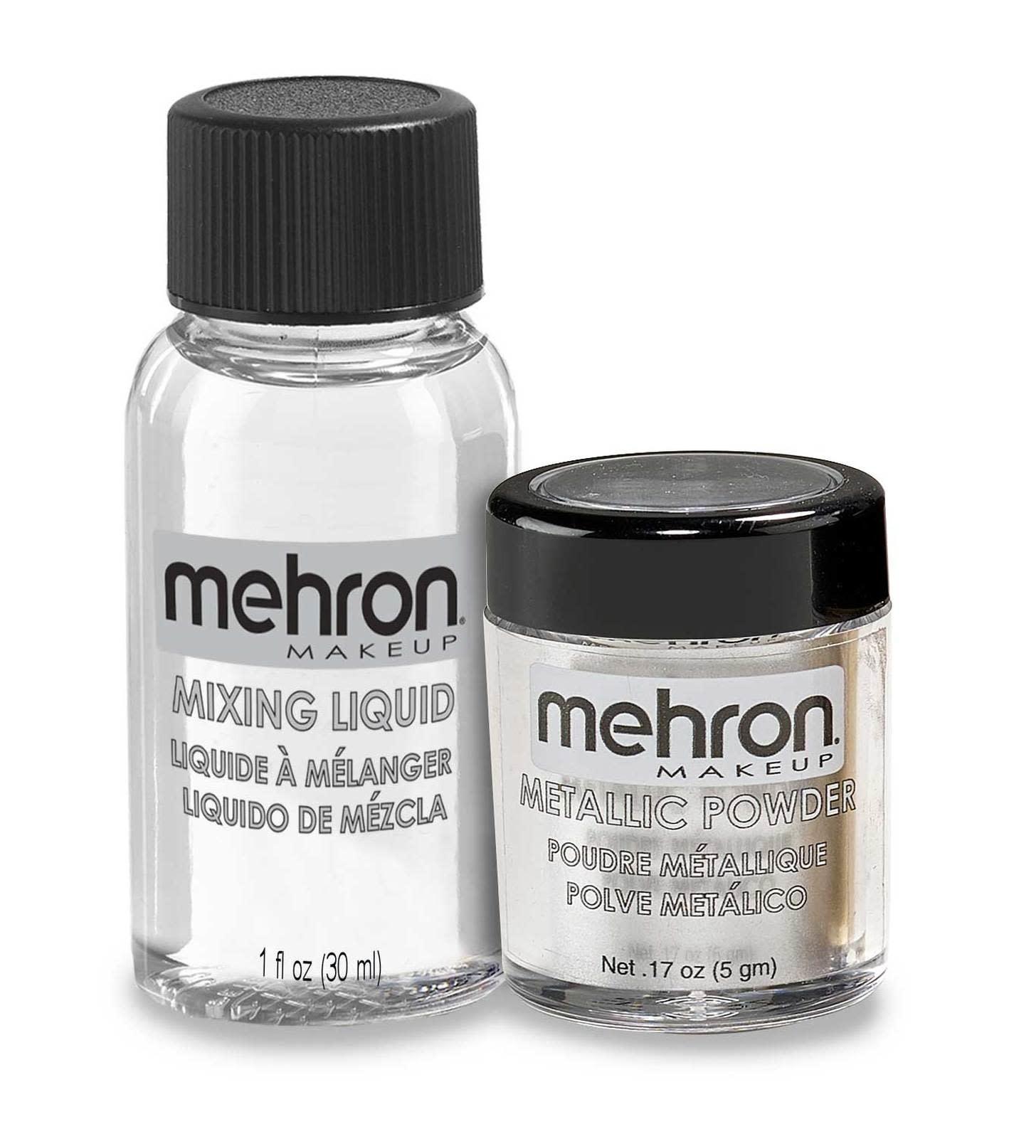 Mehron Metallic Powder with Mixing Liquid Silver