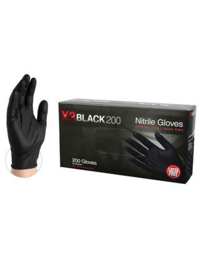 Just Sculpt Black Nitrile Industrial Gloves Medium Box of 200