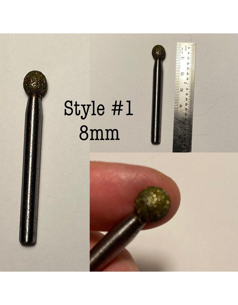 """Just Sculpt Diamond Burr Ball/Sphere 5/16"""" (8mm) 1/4"""" Shaft"""