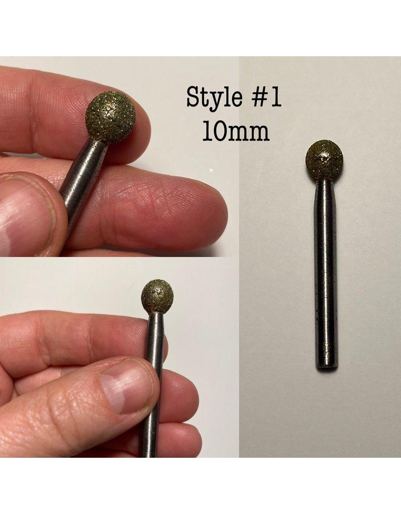 """Just Sculpt Diamond Burr Ball/Sphere 3/8"""" (10mm) 1/4"""" Shaft"""