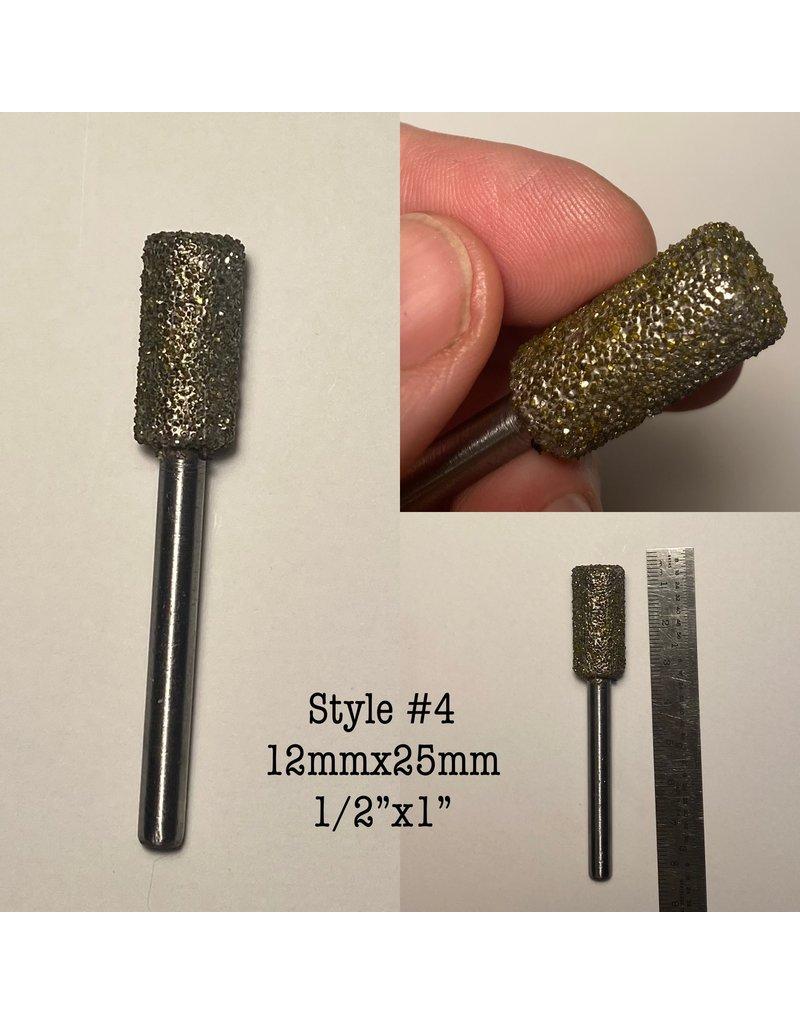 "Just Sculpt Diamond Burr Cylinder 1/2x1"" (12x25mm) 1/4"" Shaft"
