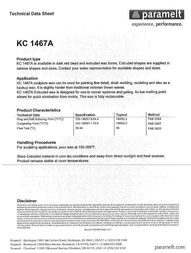 Paramelt Dark Red Casting Wax 50lb Case (1467A)