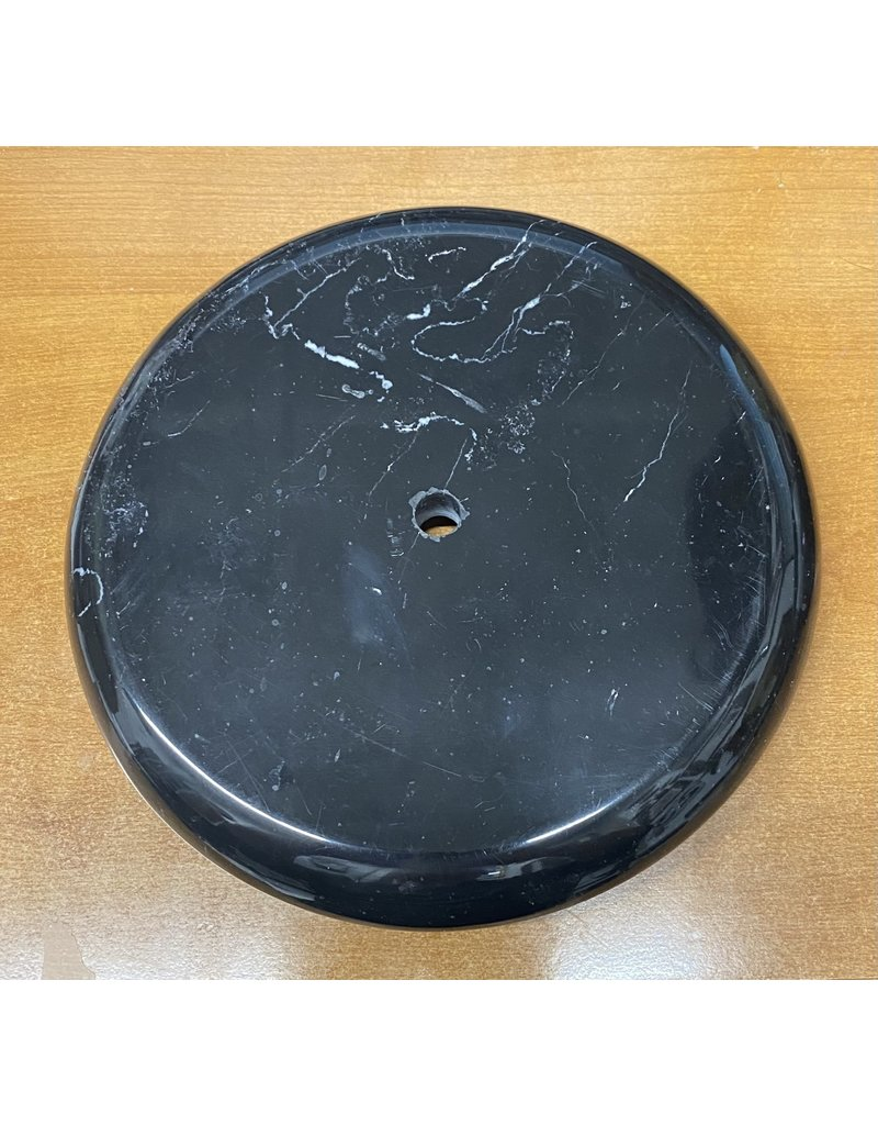 """Just Sculpt Round Marble Base 9"""" Diameter x1 1/8"""" Black with white veining 1/2"""" center hole"""
