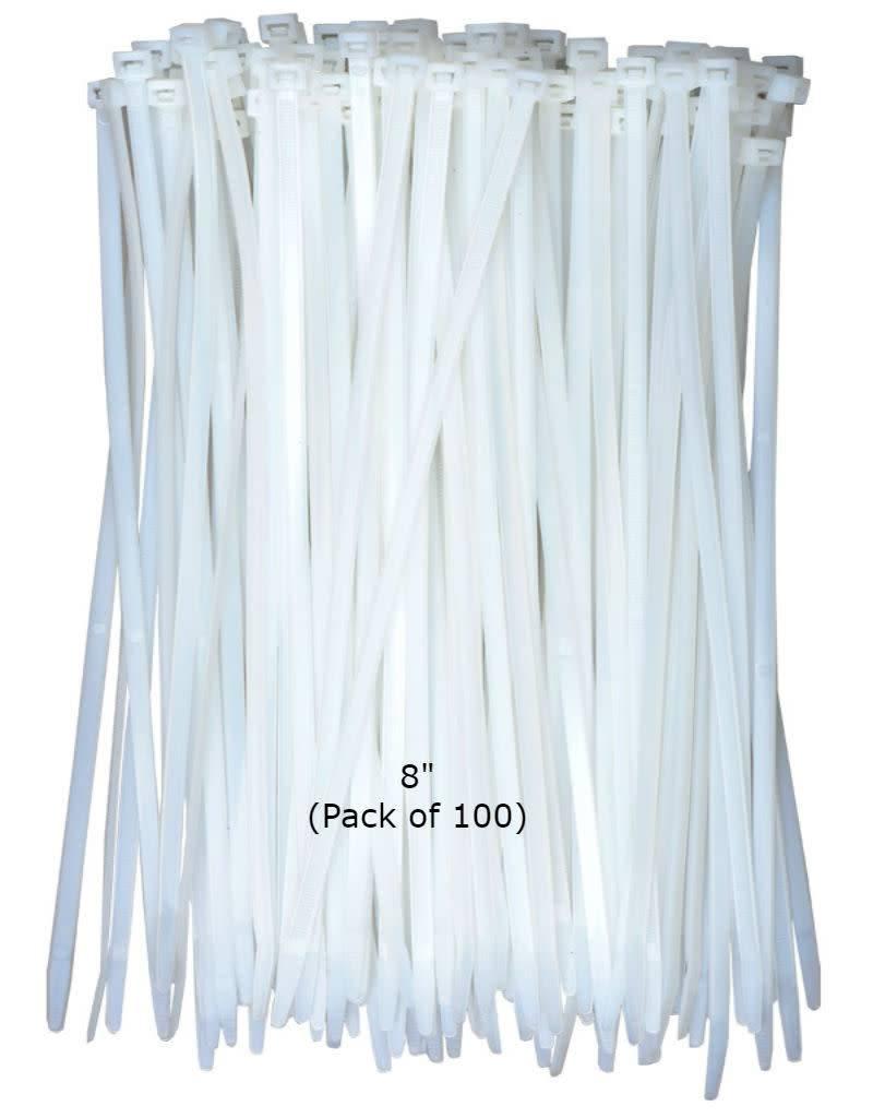 Just Sculpt Cable Ties HD White Nylon 8'' (100 pcs)