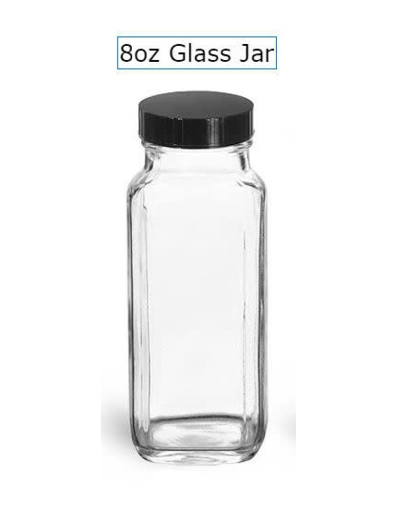 Just Sculpt Clear Glass French Square Bottles w/ Black Caps 8oz
