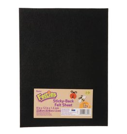 Just Sculpt Sticky Black Felt Sheet 9x12