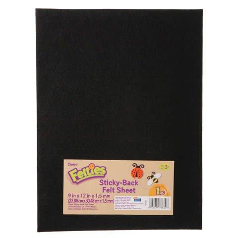 Sticky Black Felt Sheet 9x12