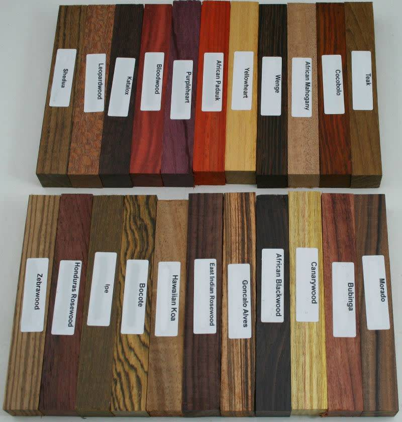 """22 Different Exotic Wood Pen Blanks ¾""""x5"""""""