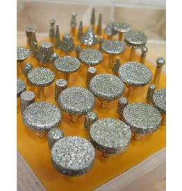 Just Sculpt 50pc Diamond Burr Set Large Head 1/8 Shank 40 Grit