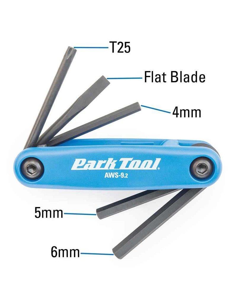 Park Tool Park Tool, AWS9.2, Tournevis et cles hexagonales repliables, 4mm, 5mm, 6mm, plat et T25