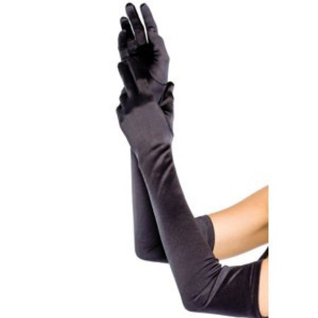 Extra Long Satin Gloves 16B, Black