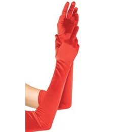 Extra Long Satin Gloves 16B, Red