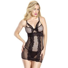 Oh La La Cheri Fishnet Babydoll with Lace Detail and G-String 70-10290