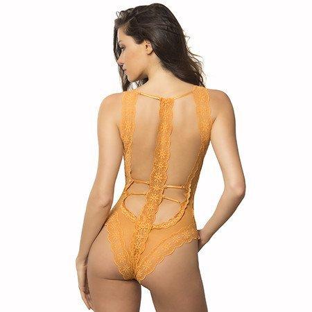 Oh La La Cheri Horizon Geometric Lace Bodysuit 52-10691, Desert Sun