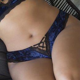 Oh La La Cheri Amalie Crushed Velvet Tanga Panty 23-10607, Astral Aura/Black
