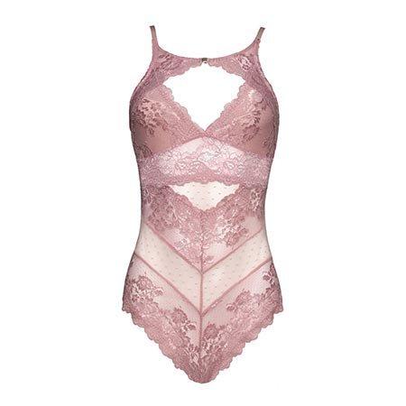 Josilyn High Neck Soft Lace Bodysuit 52-10640, Silver Pink