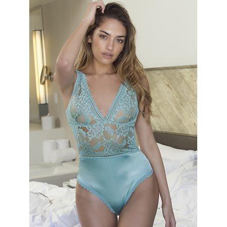 Oh La La Cheri Yvette Soft Floral Lace Teddy 52-10595, Dusty Turquoise