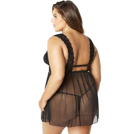 Nora Empire Babydoll with G-string 75-10789, Black