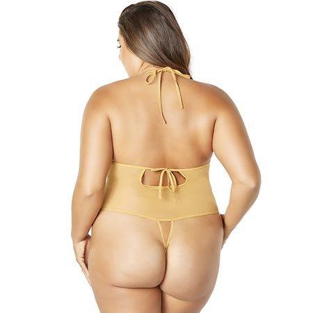 Oh La La Cheri Crotchless Lace Teddy 3182, Gold