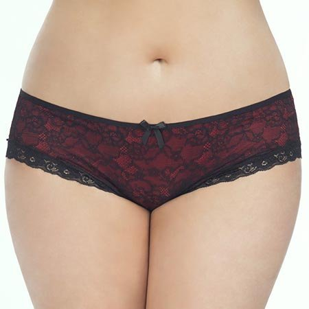 Oh La La Cheri Cage Back Lace Panty 2028, Red/Black