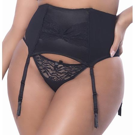 Raquel Satin Garter Belt with Lace Front 3129, Black