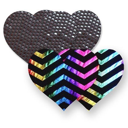Bristols Nippies Midnight Rainbow Heart Pasties
