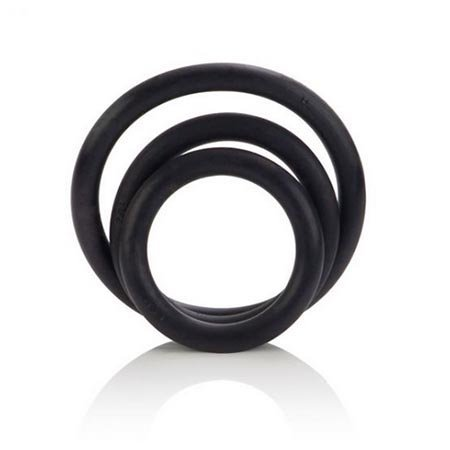Black Rubber Cock Rings, Set of 3