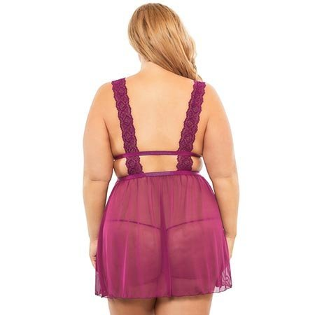 Nora Empire Babydoll with G-string 75-10789, Amaranth