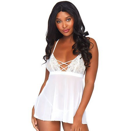 2 Piece Mesh and Lace Empire Waist Babydoll 81561, White