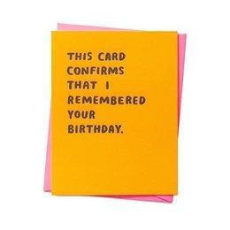 Confirmed Birthday Greeting Card
