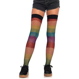 Leg Avenue Rainbow Thigh Highs with Fishnet Overlay 9994