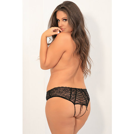Rene Rofe All Tied Up Open Back Panty 1152, Black