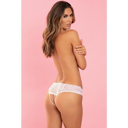 Rene Rofe All Tied Up Open Back Panty 1152, White