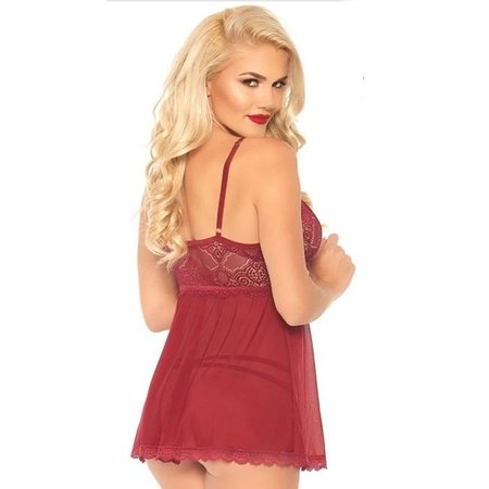 Leg Avenue 2 Piece Sheer Babydoll w/ Cage Strap O-ring Bodice Detail 86108, Burgandy
