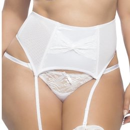 Oh La La Cheri Raquel Satin Garter Belt with Lace Front 3129, White
