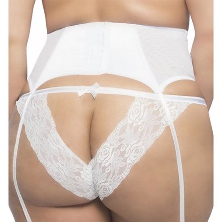 Raquel Satin Garter Belt with Lace Front 3129, White