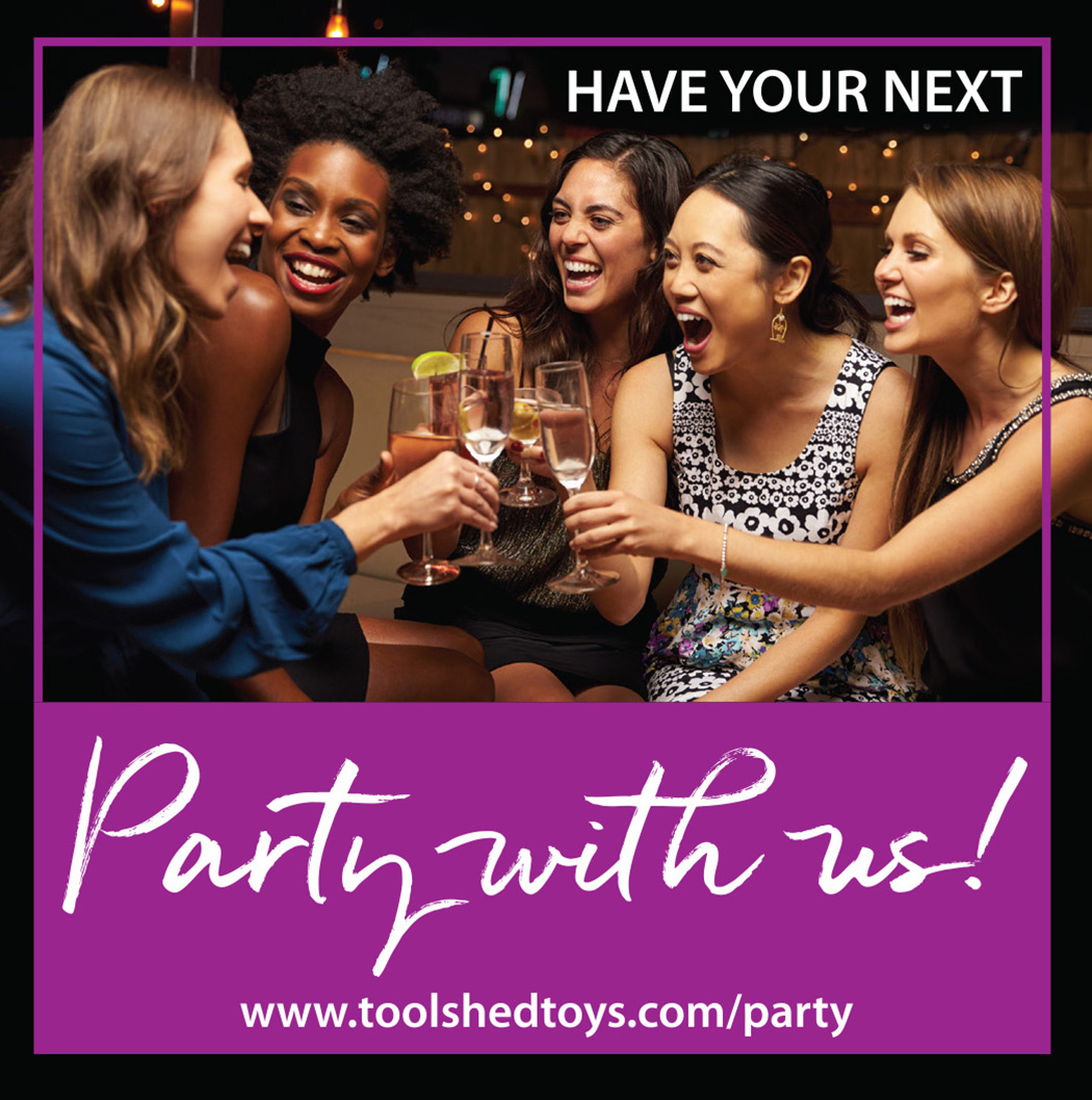 A group of five smiling friends sharing a toast with text that reads