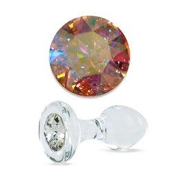 Crystal Delights Small Clear Jeweled Plug, Aurora Borealis Crystal