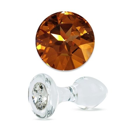 Crystal Delights Crystal Delights Small Clear Jeweled Plug, Gold Crystal