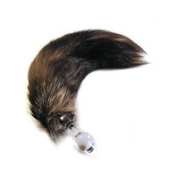 Crystal Delights Crystal Minx Fur Tail Plug, Silver Fox