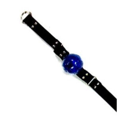 Ball Gag, Blue Rubber with Leather Strap